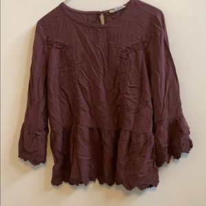 Lace detail peasant blouse